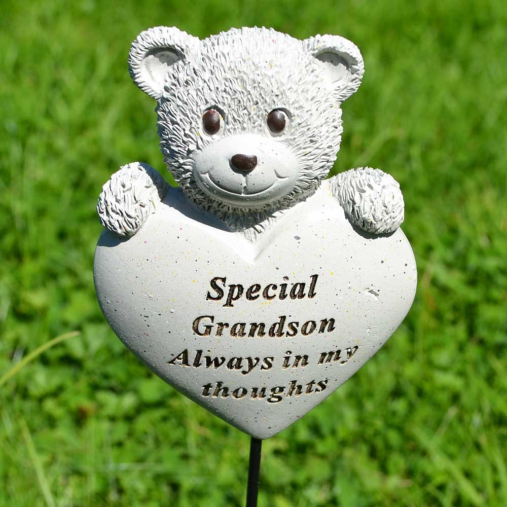 Special Grandson Teddy Bear Heart Memorial Remembrance Stick