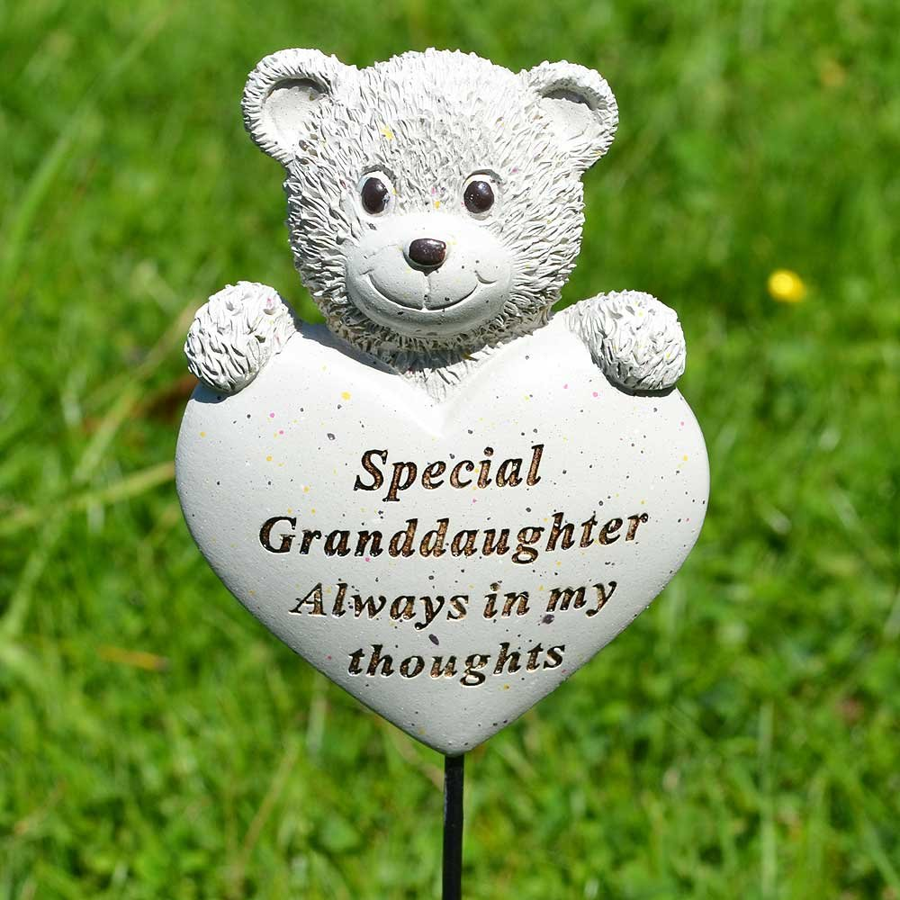 Special Granddaughter Teddy Bear Heart Memorial Remembrance Stick
