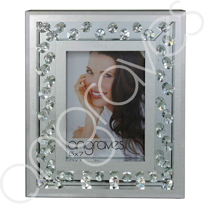 Inlaid Glass Floating Crystals Photo Frame (5 x 7 Inch) - Angraves Memorials