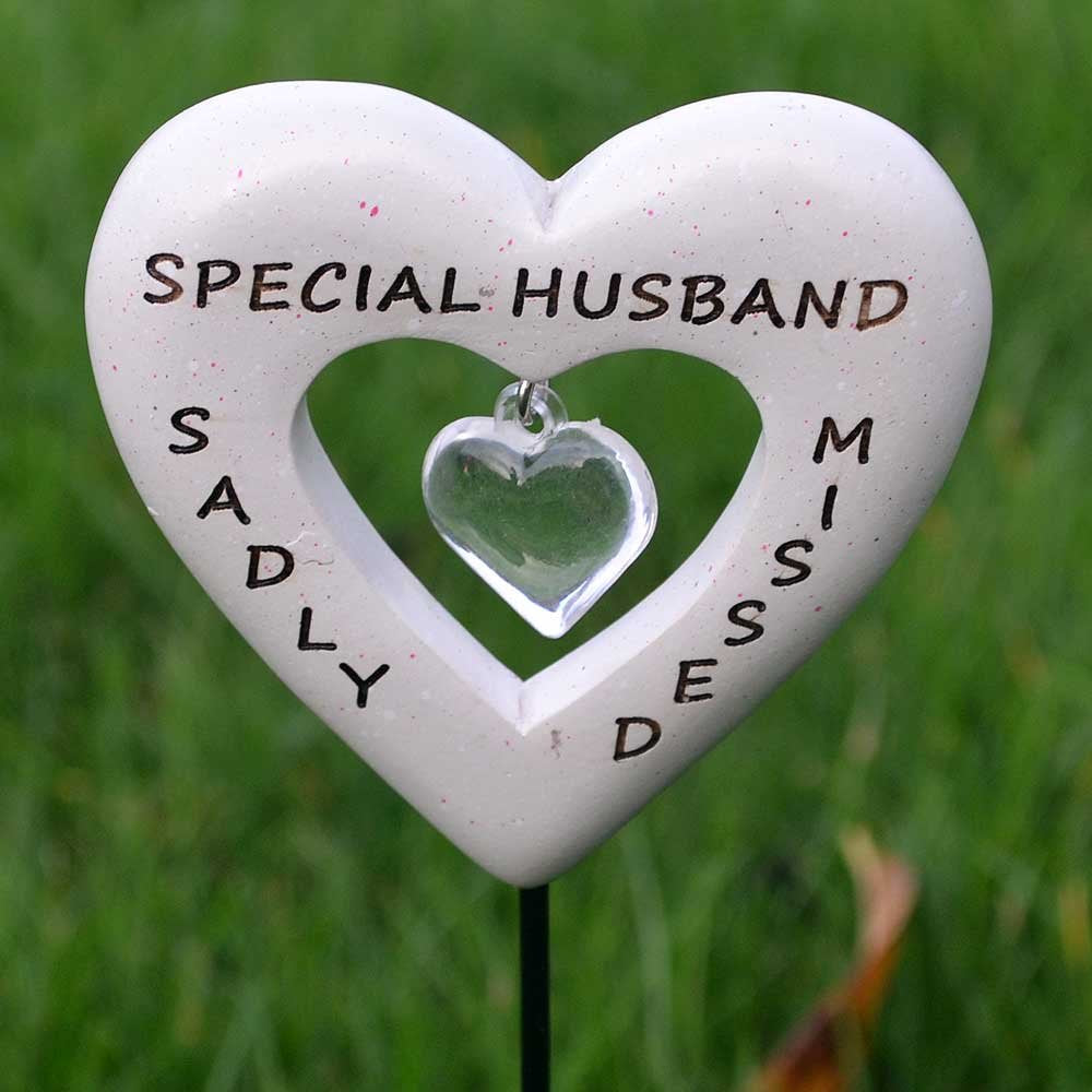 Sadly Missed Special Husband Love Heart Memorial Remembrance Stick