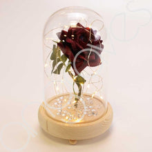 Load image into Gallery viewer, Handmade Magical Red Enchanted Rose in Glass Dome Bell Jar with Pretty LED Lights - Angraves Memorials
