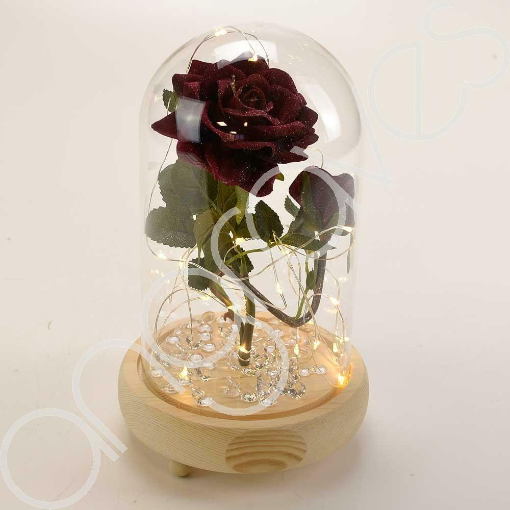 Bella Red Handmade Enchanted Rose & Rosebud with Glass Dome Bell Jar and LED Lights (23cm) - Angraves Memorials