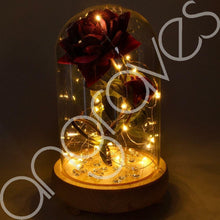 Load image into Gallery viewer, Bella Red Handmade Enchanted Rose & Rosebud with Glass Dome Bell Jar and LED Lights (23cm) - Angraves Memorials