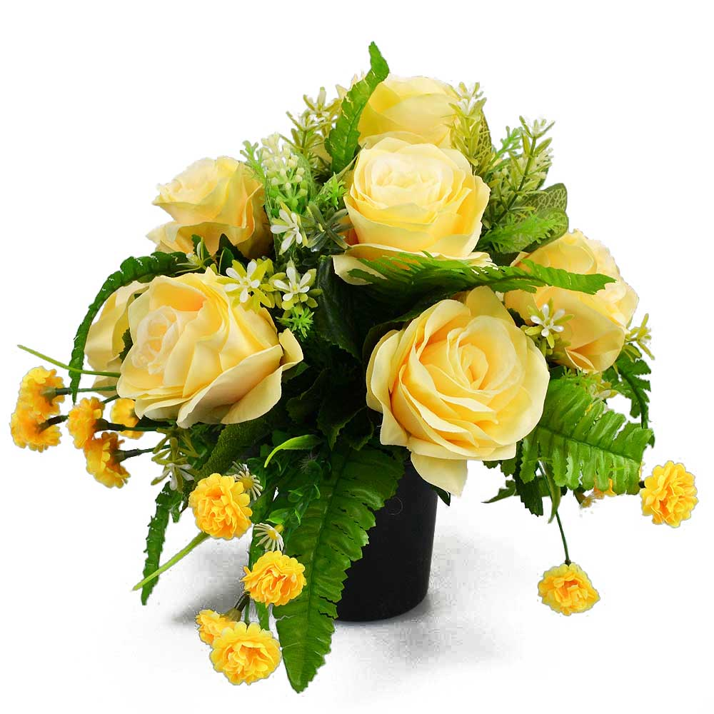 Tiff Yellow Roses Artificial Flower Memorial Arrangement