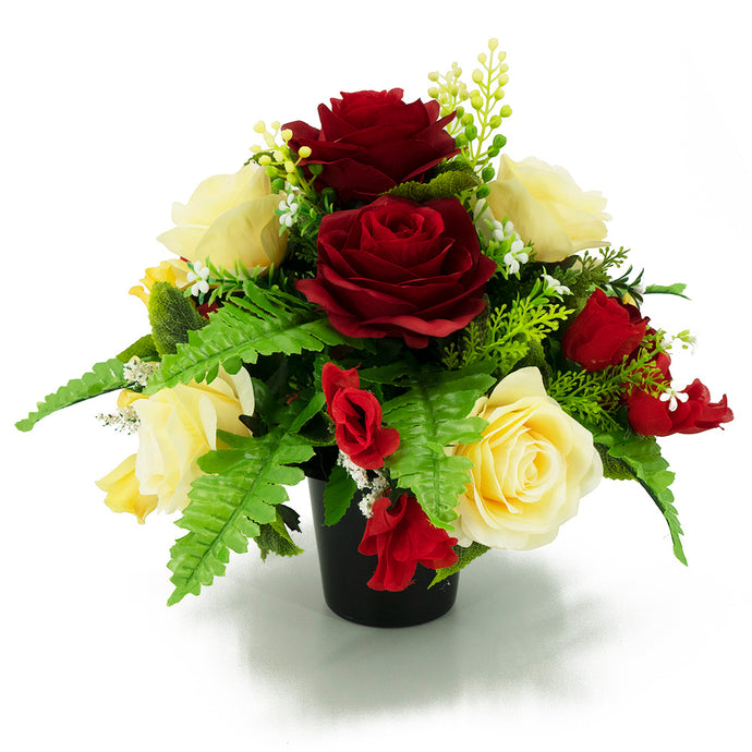 Bonnie Red & Yellow Roses Artificial Flower Memorial Arrangement
