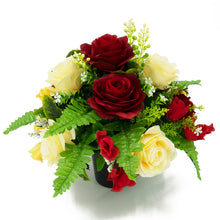 Load image into Gallery viewer, Bonnie Red & Yellow Roses Artificial Flower Memorial Arrangement