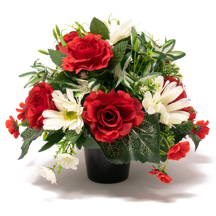 Elyas Red Rose & White Gerbera Artificial Flower Memorial Arrangement