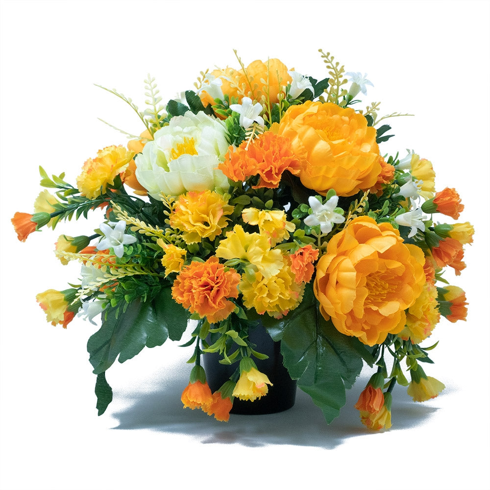 April Yellow Peony Artificial Flower Memorial Arrangement
