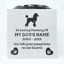 Load image into Gallery viewer, Poodle Personalised Pet Dog Graveside Memorial Flower Vase - Angraves Memorials
