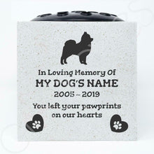 Load image into Gallery viewer, Pomeranian Personalised Pet Dog Graveside Memorial Flower Vase - Angraves Memorials