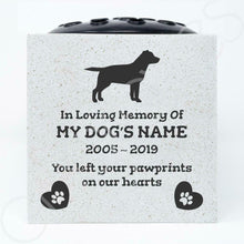 Load image into Gallery viewer, Labrador Retriever Personalised Pet Dog Graveside Memorial Flower Vase - Angraves Memorials