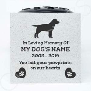 Labrador Retriever Personalised Pet Dog Graveside Memorial Flower Vase - Angraves Memorials