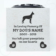 Load image into Gallery viewer, Great Dane Personalised Pet Dog Graveside Memorial Flower Vase - Angraves Memorials