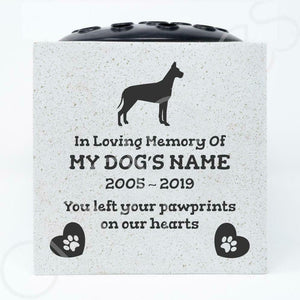 Great Dane Personalised Pet Dog Graveside Memorial Flower Vase - Angraves Memorials