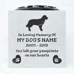 Golden Retriever Personalised Pet Dog Graveside Memorial Flower Vase - Angraves Memorials
