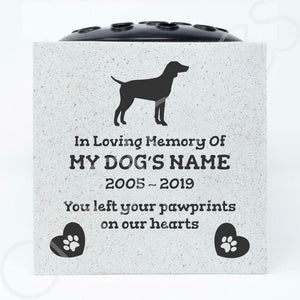 German Pointer Personalised Pet Dog Graveside Memorial Flower Vase - Angraves Memorials
