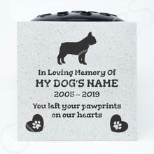 Load image into Gallery viewer, French Bulldog Personalised Pet Dog Graveside Memorial Flower Vase - Angraves Memorials