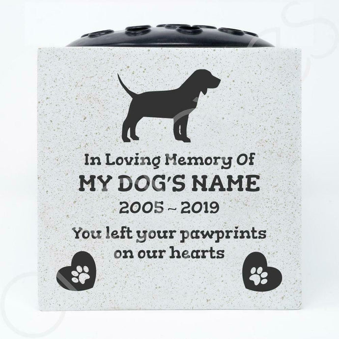 Beagle Personalised Pet Dog Graveside Memorial Flower Vase - Angraves Memorials