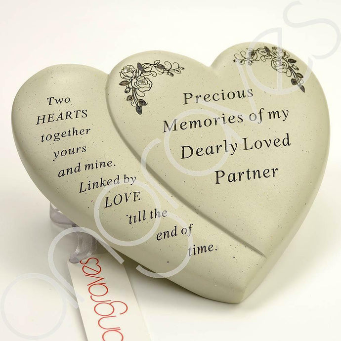 Partner Diamante Flower Double Heart Ornament - Angraves Memorials