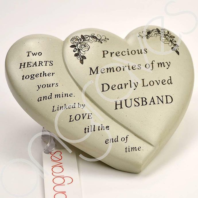 Husband Diamante Flower Double Heart Ornament - Angraves Memorials