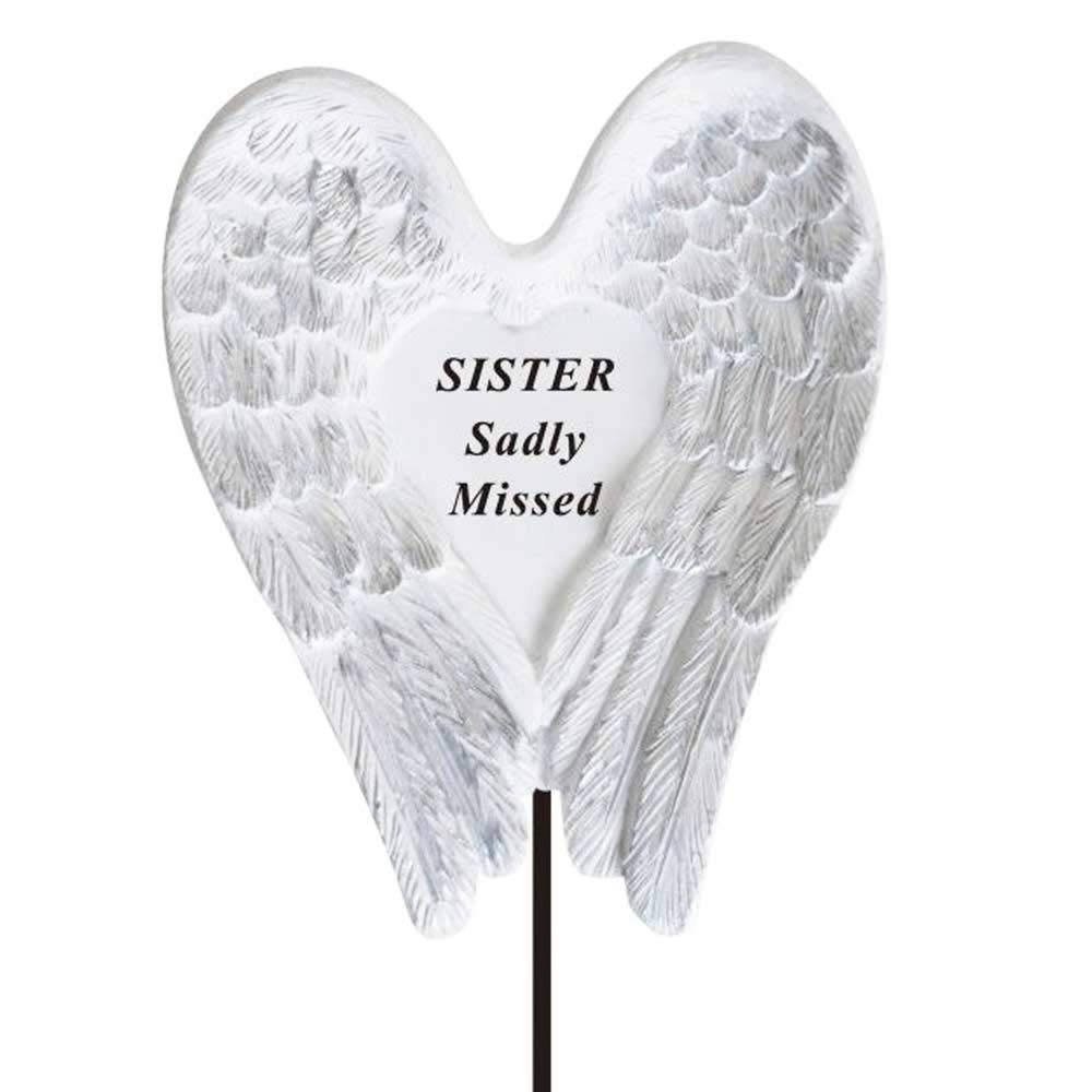 Sadly Missed Sister Angel Wings Memorial Remembrance Stick