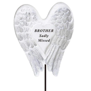 Sadly Missed Brother Angel Wings Memorial Remembrance Stick