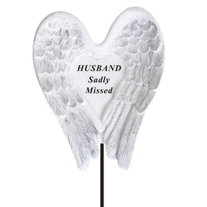 Sadly Missed Husband Angel Wings Memorial Remembrance Stick