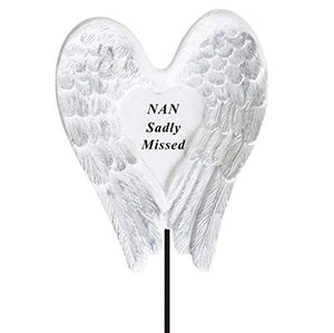 Sadly Missed Nan Angel Wings Memorial Remembrance Stick