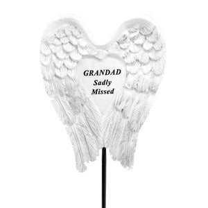 Sadly Missed Grandad Angel Wings Memorial Remembrance Stick