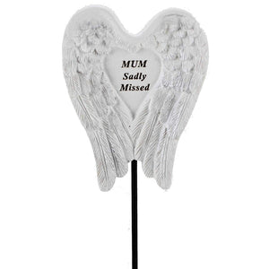 Sadly Missed Mum Angel Wings Memorial Remembrance Stick