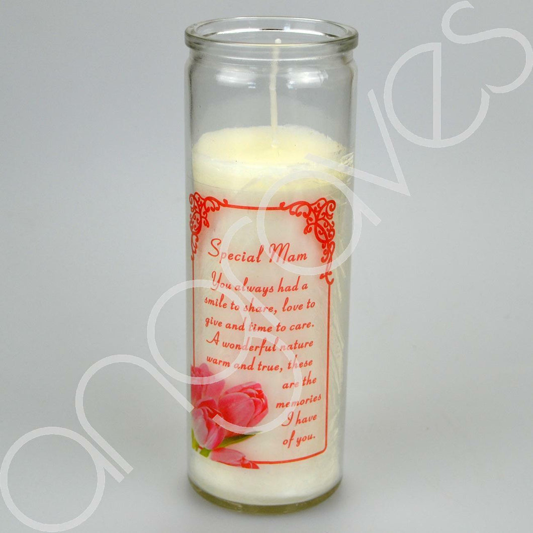 Special Mam A Smile To Share Real Wax Memorial Candle - Angraves Memorials