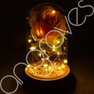 Magical Dusty Pink Handmade Enchanted Rose in Glass Dome Bell Jar with LED Light - Angraves Memorials
