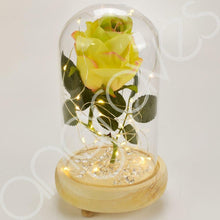 Load image into Gallery viewer, Mixed Lemon & Lime Handmade Enchanted Rose in Glass Dome Bell Jar with LED Light - Angraves Memorials