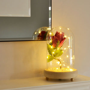 Glistening Cerise Handmade Enchanted Rose in Glass Dome Bell Jar with LED Lights - Angraves Memorials