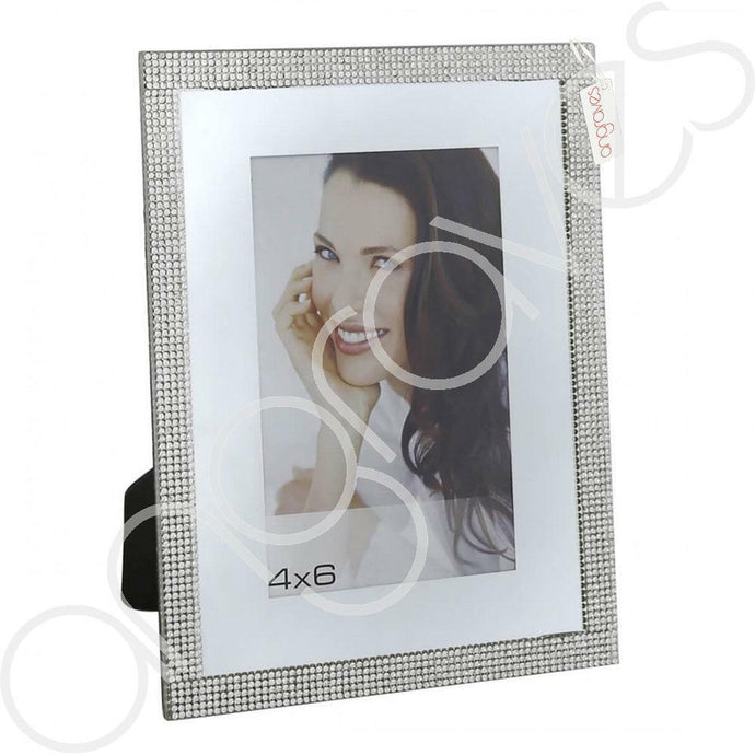 Silver Glitz Diamante Photo Frame (4 x 6 Inch) - Angraves Memorials