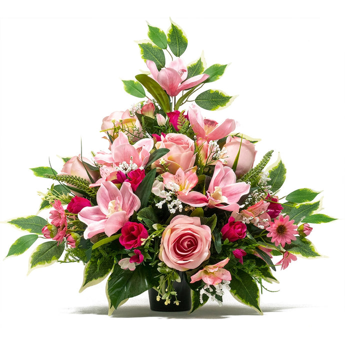 Fleur Large Pink Rose Artificial Flower Memorial Arrangement