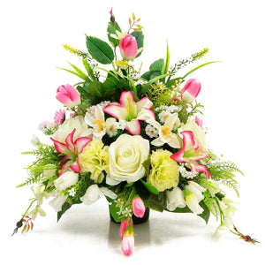 Nyah Pink Lily Tulip Artificial Flower Memorial Arrangement