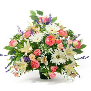 Nela Pink White Lily Rose Artificial Flower Memorial Arrangement