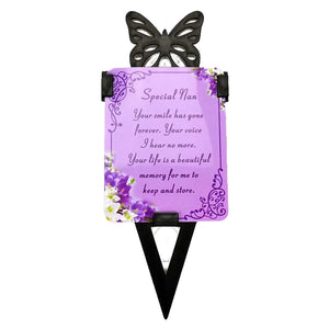 Special Nan Memorial Remembrance Verse With Grave Butterfly Ground Stake