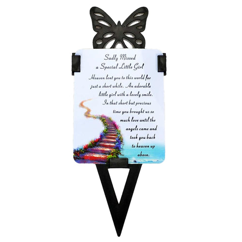 Little Girl Memorial Remembrance Verse With Grave Butterfly Ground Stake