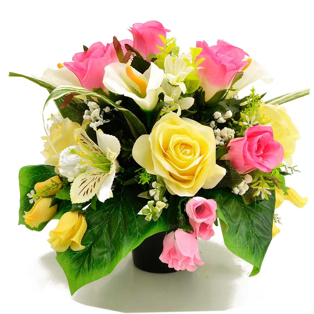 Shae Yellow & Pink Roses Artificial Flower Arrangement
