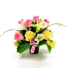 Load image into Gallery viewer, Shae Yellow & Pink Roses Artificial Flower Arrangement
