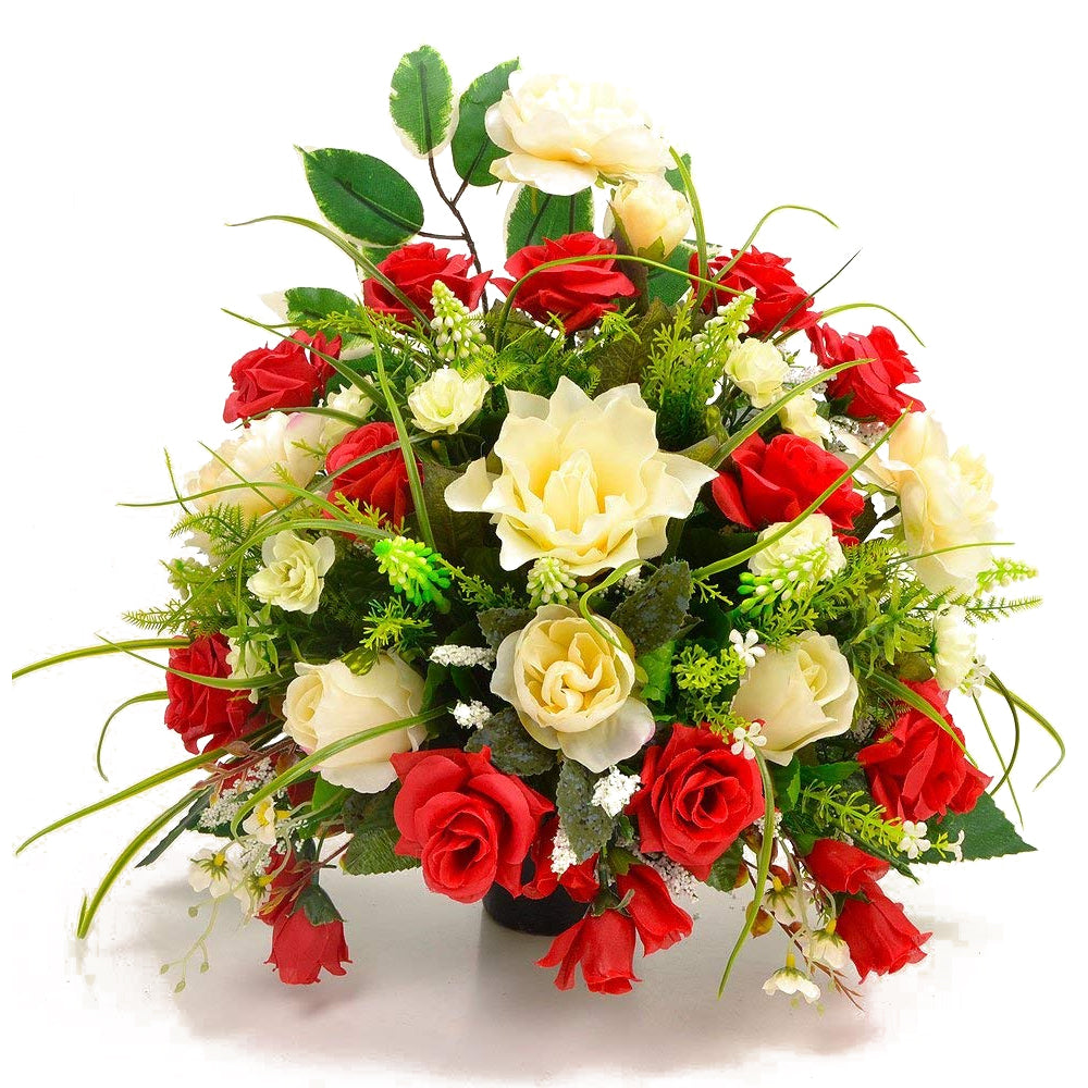 Sirius  Red White Rose Artificial Flower Arrangement