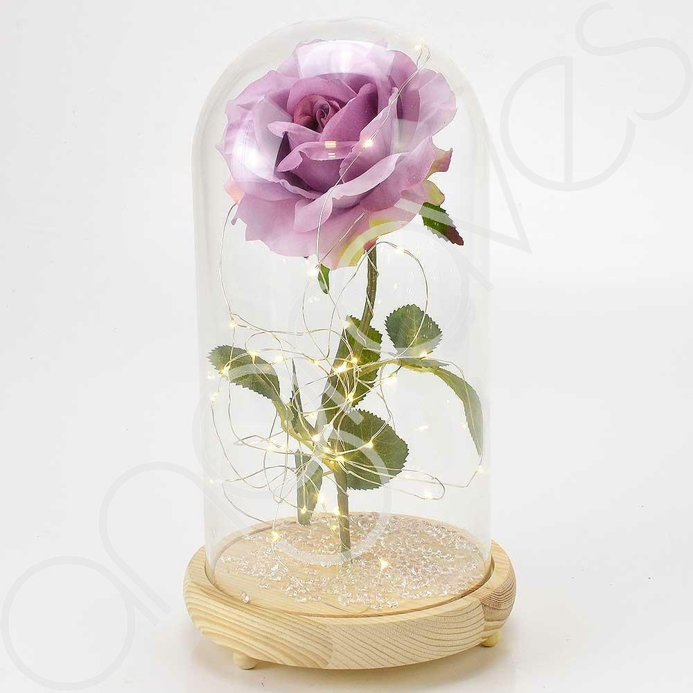 Extra Large Fairy Tale Enchanted Lavender Rose in Glass Dome Bell Jar Cloche with Magical Glow Lights (Perfect for Wedding Displays) - Angraves Memorials