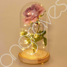 Load image into Gallery viewer, Extra Large Fairy Tale Enchanted Lavender Rose in Glass Dome Bell Jar Cloche with Magical Glow Lights (Perfect for Wedding Displays) - Angraves Memorials