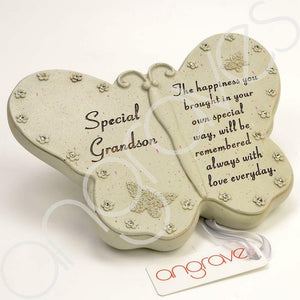Special Grandson Diamante Flower Butterfly Ornament - Angraves Memorials