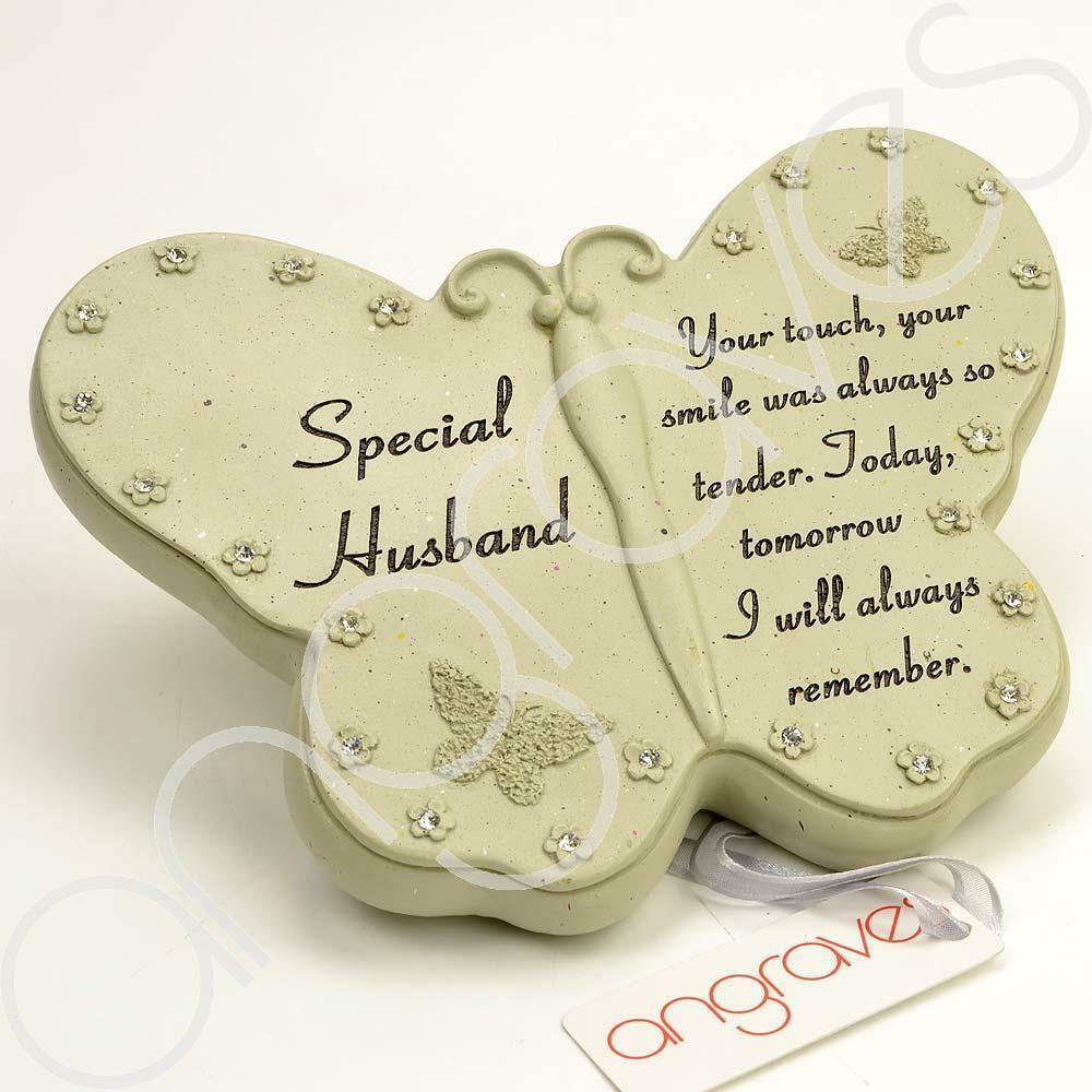 Special Husband Diamante Flower Butterfly Ornament - Angraves Memorials