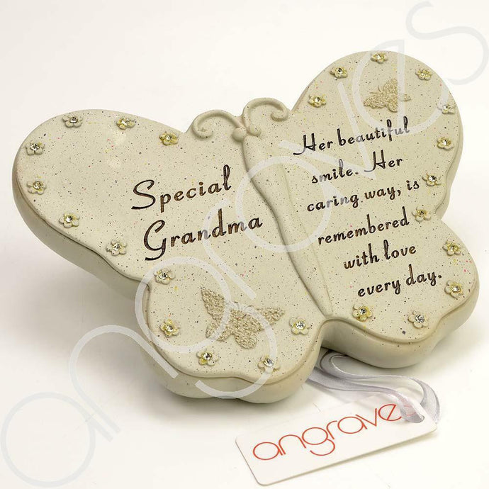 Special Grandma Diamante Flower Butterfly Ornament - Angraves Memorials