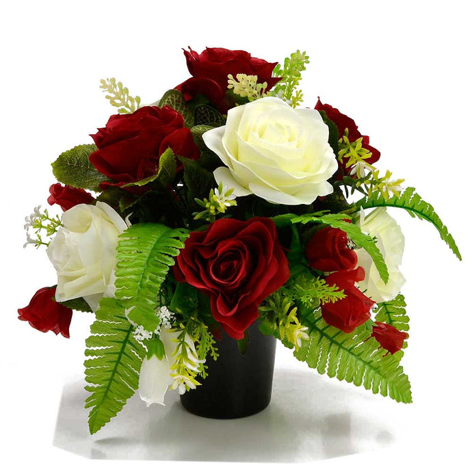 Jenson  Red & White Rose Artificial Flower Memorial Arrangement