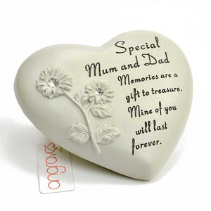 Special Mum & Dad Flower Diamante Heart Memorial Ornament